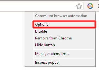 Options item highlihgted in CBA browserAction context menu
